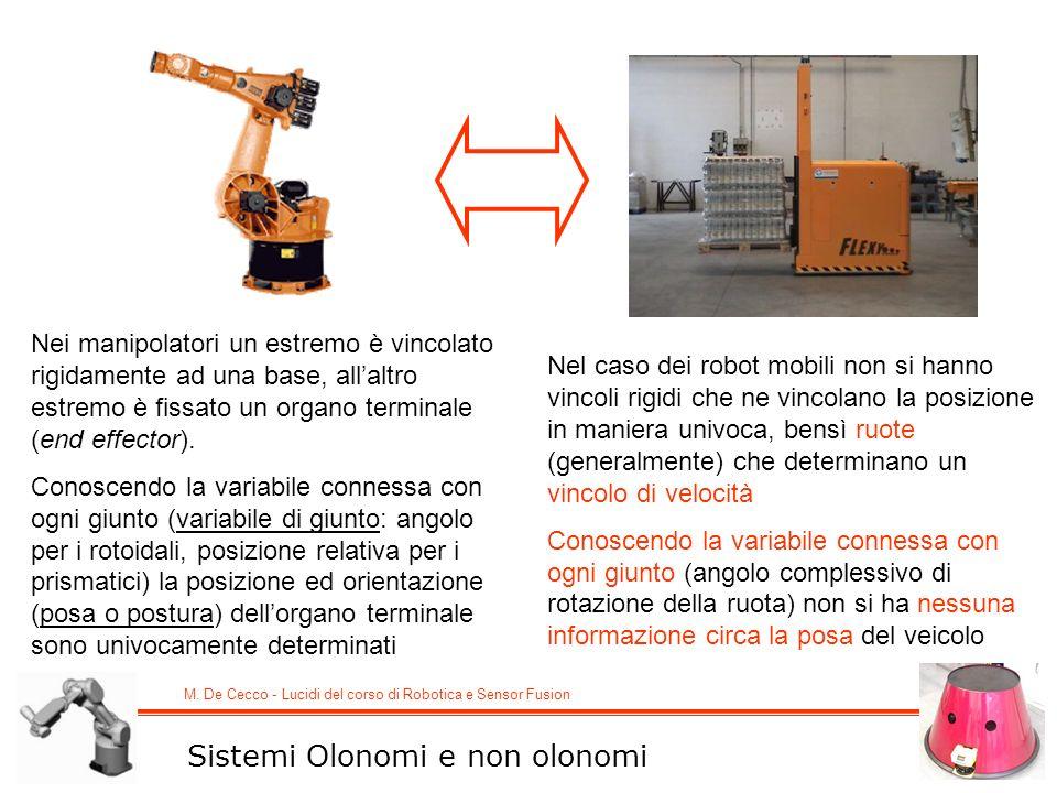 M. De Cecco - Lucidi del corso di Robotica e Sensor Fusion Sistemi Olonomi e non olonomi Nei manipolatori un estremo è vincolato rigidamente ad una ba