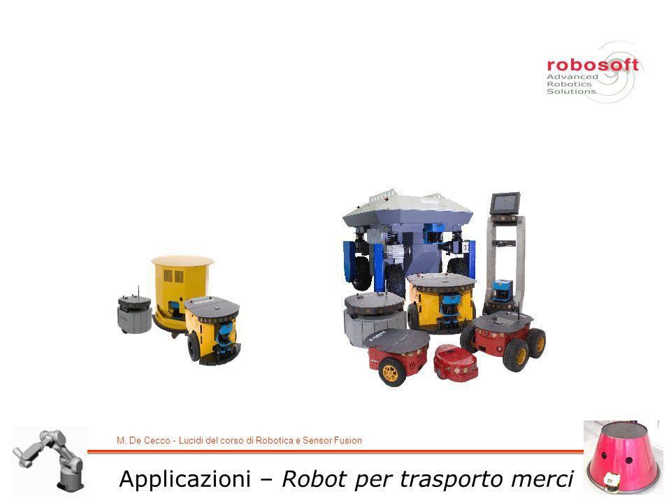 M. De Cecco - Lucidi del corso di Robotica e Sensor Fusion Applicazioni – Robot per trasporto merci