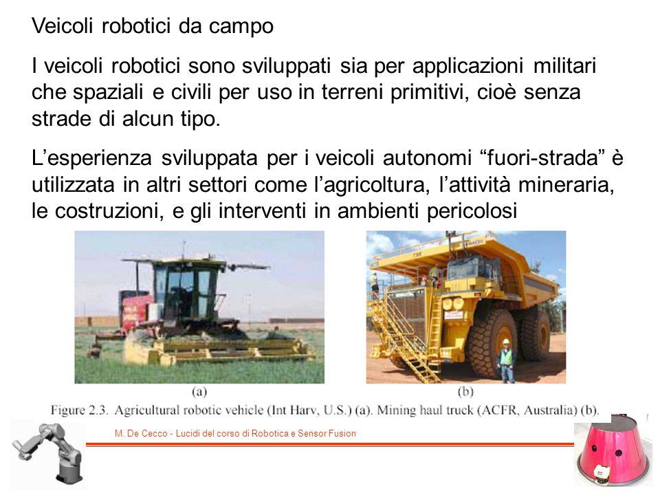 M. De Cecco - Lucidi del corso di Robotica e Sensor Fusion Veicoli robotici da campo I veicoli robotici sono sviluppati sia per applicazioni militari