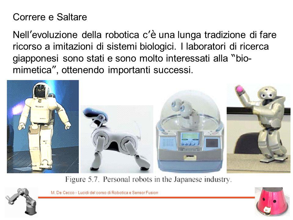 Correre e Saltare Nell evoluzione della robotica c è una lunga tradizione di fare ricorso a imitazioni di sistemi biologici. I laboratori di ricerca g