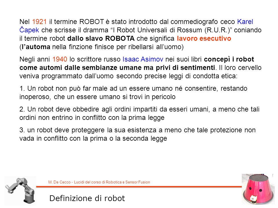 M. De Cecco - Lucidi del corso di Robotica e Sensor Fusion Nel 1921 il termine ROBOT è stato introdotto dal commediografo ceco Karel Čapek che scrisse