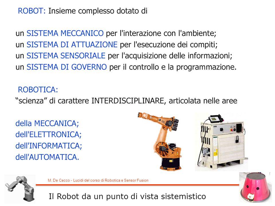M. De Cecco - Lucidi del corso di Robotica e Sensor Fusion Il Robot da un punto di vista sistemistico