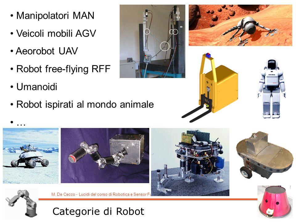M. De Cecco - Lucidi del corso di Robotica e Sensor Fusion Categorie di Robot Manipolatori MAN Veicoli mobili AGV Aeorobot UAV Robot free-flying RFF U