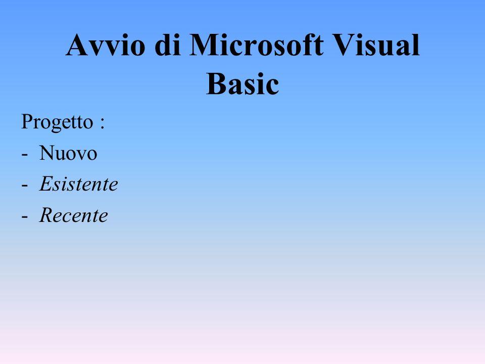 Avvio di Microsoft Visual Basic Progetto : -Nuovo -Esistente -Recente