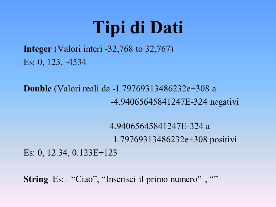 Tipi di Dati Integer (Valori interi -32,768 to 32,767) Es: 0, 123, -4534 Double (Valori reali da -1.79769313486232e+308 a -4.94065645841247E-324 negat