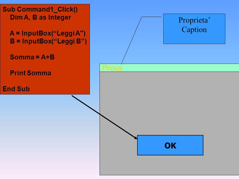Prova OK Sub Command1_Click() Dim A, B as Integer A = InputBox(Leggi A
