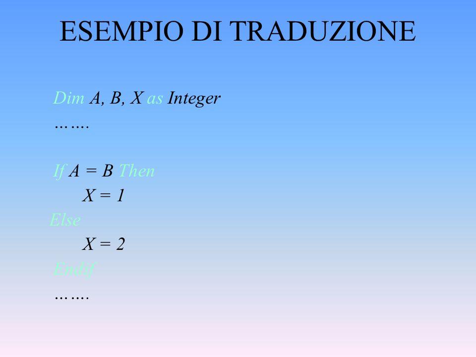 ESEMPIO DI TRADUZIONE Dim A, B, X as Integer ……. If A = B Then X = 1 Else X = 2 Endif …….