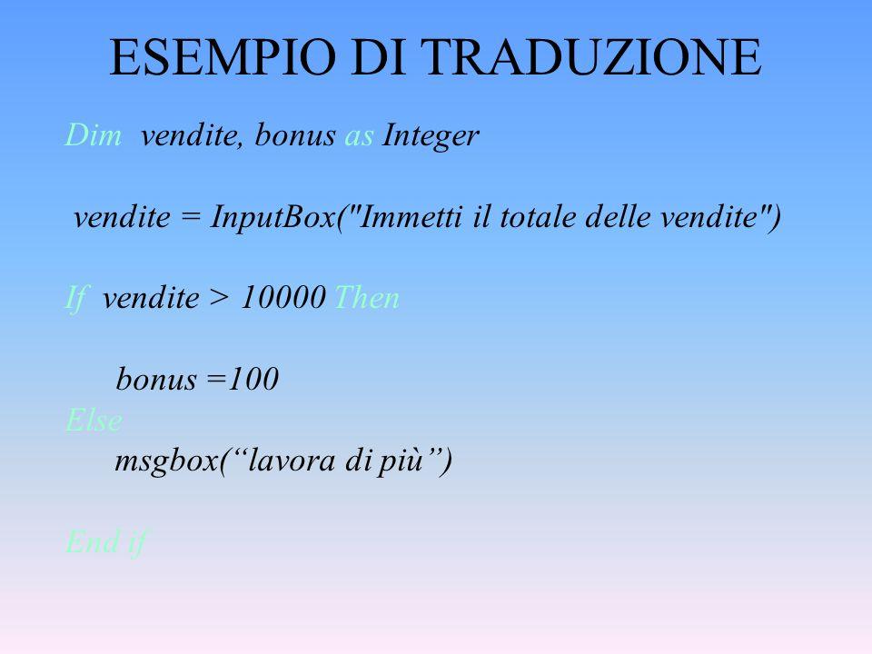ESEMPIO DI TRADUZIONE Dim vendite, bonus as Integer vendite = InputBox(