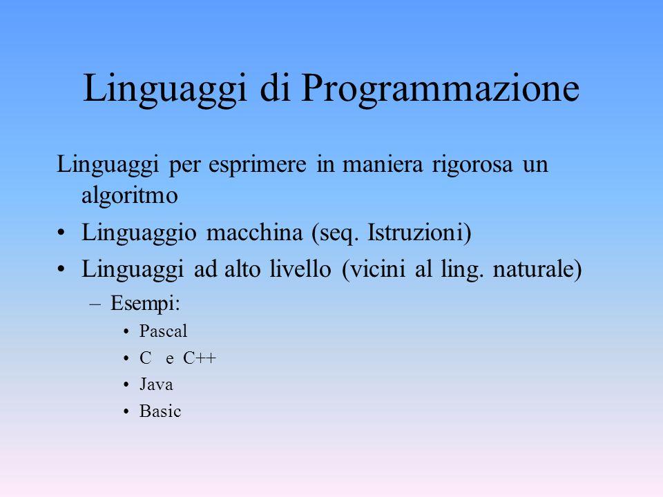 Linguaggi di Programmazione Linguaggi per esprimere in maniera rigorosa un algoritmo Linguaggio macchina (seq. Istruzioni) Linguaggi ad alto livello (