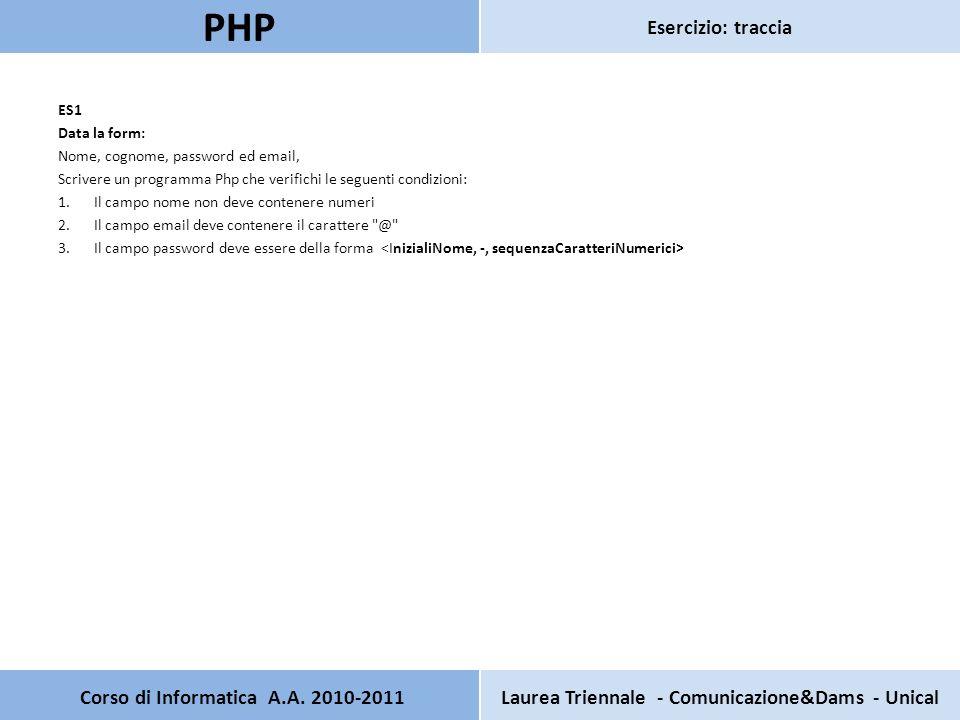ES1 Data la form: Nome, cognome, password ed email, Scrivere un programma Php che verifichi le seguenti condizioni: 1.Il campo nome non deve contenere