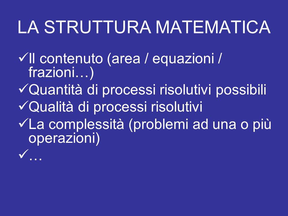 LA STRUTTURA MATEMATICA Il contenuto (area / equazioni / frazioni…) Quantità di processi risolutivi possibili Qualità di processi risolutivi La complessità (problemi ad una o più operazioni) …