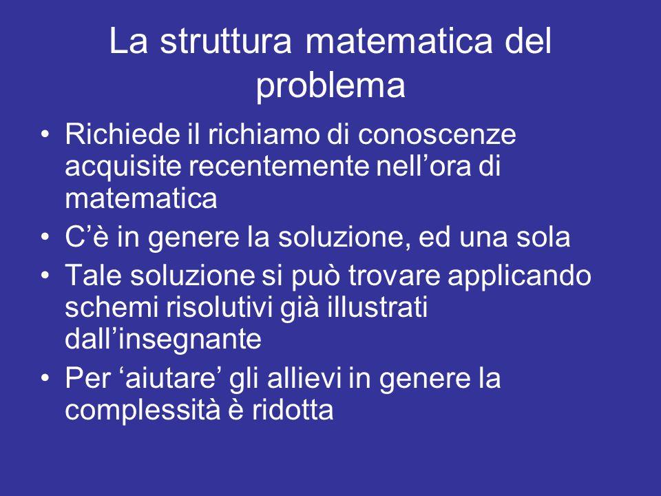 La struttura matematica del problema Richiede il richiamo di conoscenze acquisite recentemente nellora di matematica Cè in genere la soluzione, ed una sola Tale soluzione si può trovare applicando schemi risolutivi già illustrati dallinsegnante Per aiutare gli allievi in genere la complessità è ridotta