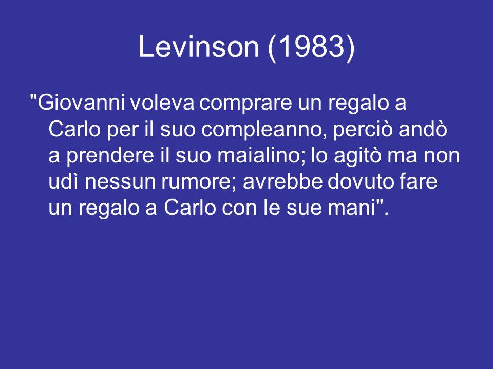 Levinson (1983) Giovanni voleva comprare un regalo a Carlo per il suo compleanno, perciò andò a prendere il suo maialino; lo agitò ma non udì nessun rumore; avrebbe dovuto fare un regalo a Carlo con le sue mani .