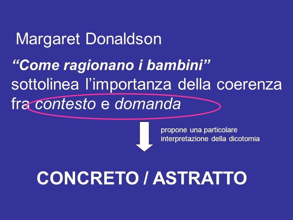 Come ragionano i bambini sottolinea limportanza della coerenza fra contesto e domanda Margaret Donaldson CONCRETO / ASTRATTO propone una particolare interpretazione della dicotomia