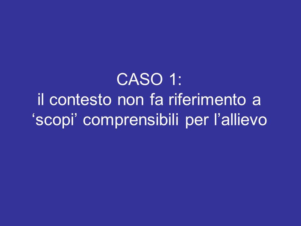 CASO 1: il contesto non fa riferimento a scopi comprensibili per lallievo