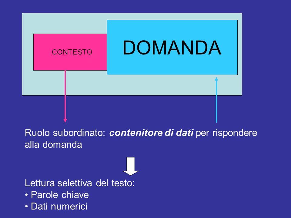 CONTESTODOMANDA Ruolo subordinato: contenitore di dati per rispondere alla domanda Lettura selettiva del testo: Parole chiave Dati numerici