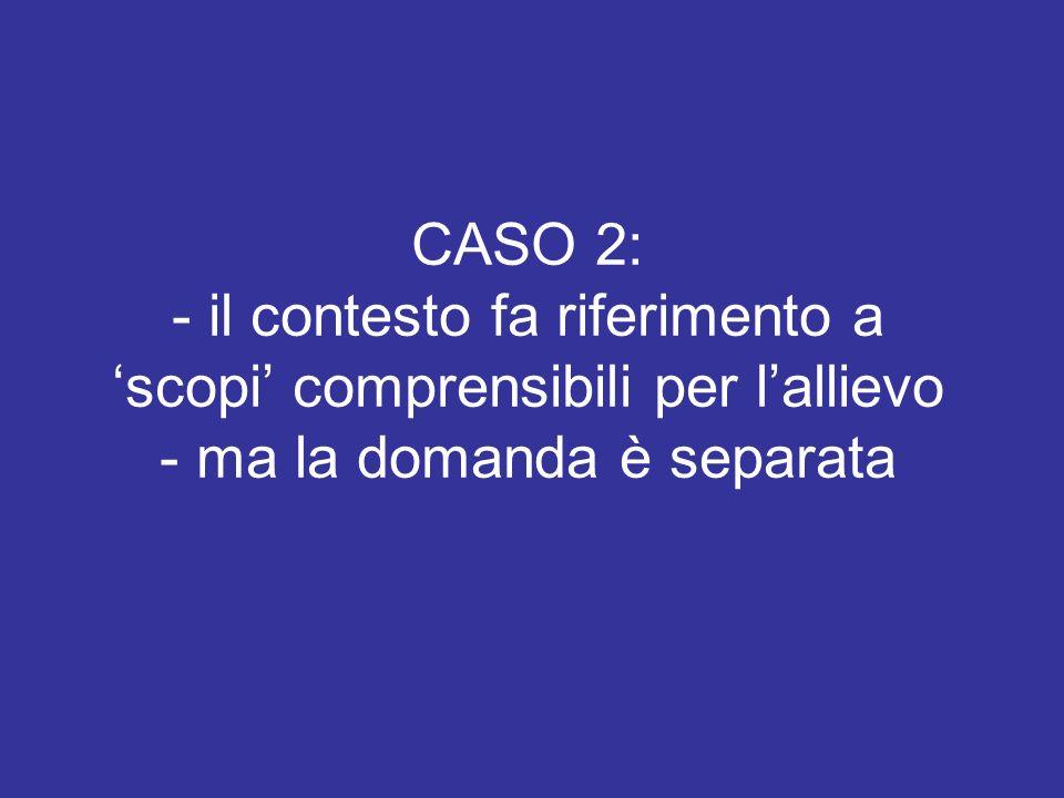CASO 2: - il contesto fa riferimento a scopi comprensibili per lallievo - ma la domanda è separata