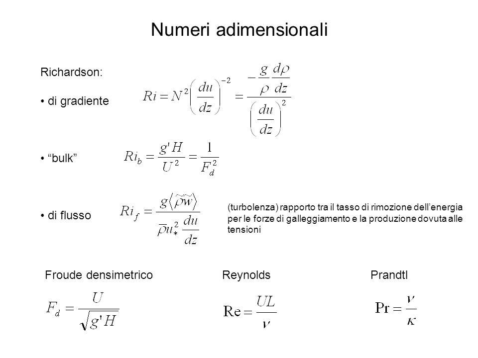 Numeri adimensionali Richardson: di gradiente bulk di flusso Froude densimetricoPrandtlReynolds (turbolenza) rapporto tra il tasso di rimozione dellenergia per le forze di galleggiamento e la produzione dovuta alle tensioni