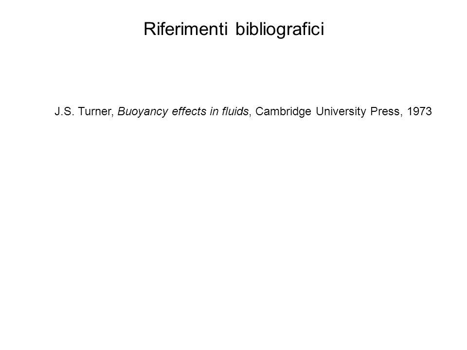 Riferimenti bibliografici J.S. Turner, Buoyancy effects in fluids, Cambridge University Press, 1973