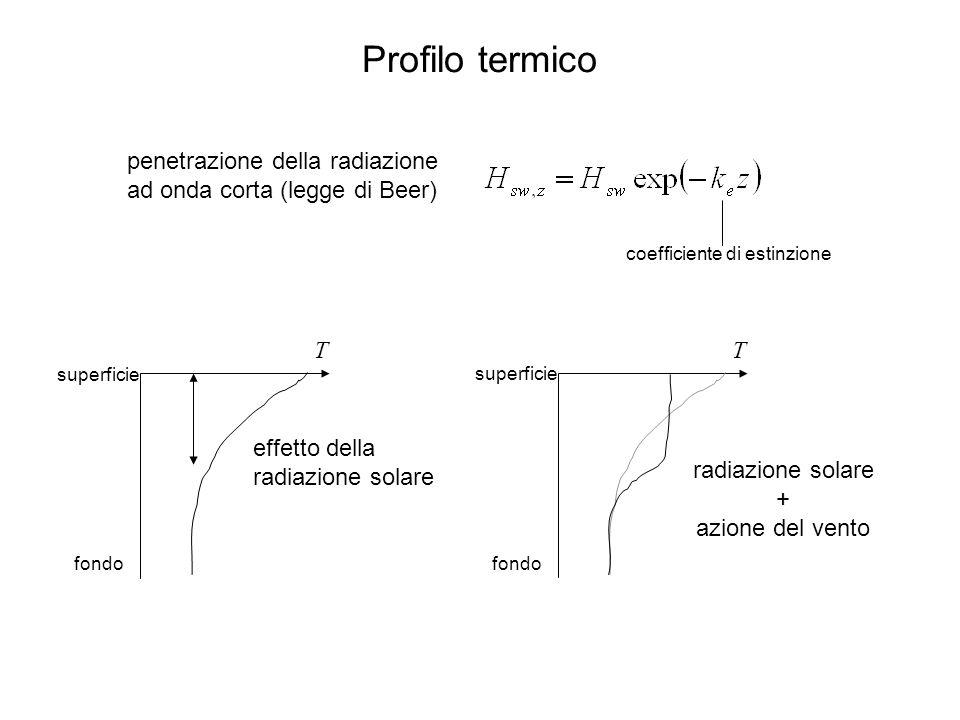 penetrazione della radiazione ad onda corta (legge di Beer) Profilo termico T superficie fondo effetto della radiazione solare T superficie fondo radiazione solare + azione del vento coefficiente di estinzione