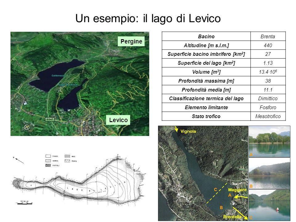 Un esempio: il lago di Levico Levico Pergine BacinoBrenta Altitudine [m s.l.m.]440 Superficie bacino imbrifero [km 2 ]27 Superficie del lago [km 2 ]1.13 Volume [m 3 ]13.4·10 6 Profondità massima [m]38 Profondità media [m]11.1 Classificazione termica del lagoDimittico Elemento limitanteFosforo Stato troficoMesotrofico