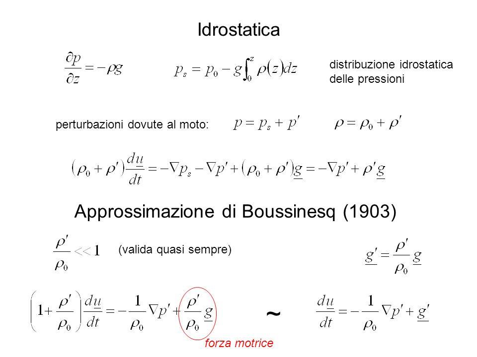 Idrostatica distribuzione idrostatica delle pressioni Approssimazione di Boussinesq (1903) ~ perturbazioni dovute al moto: (valida quasi sempre) forza motrice