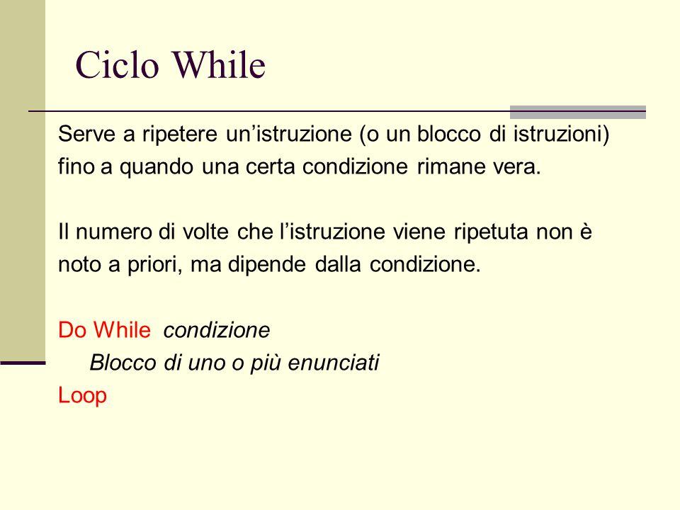 Ciclo While Serve a ripetere unistruzione (o un blocco di istruzioni) fino a quando una certa condizione rimane vera.