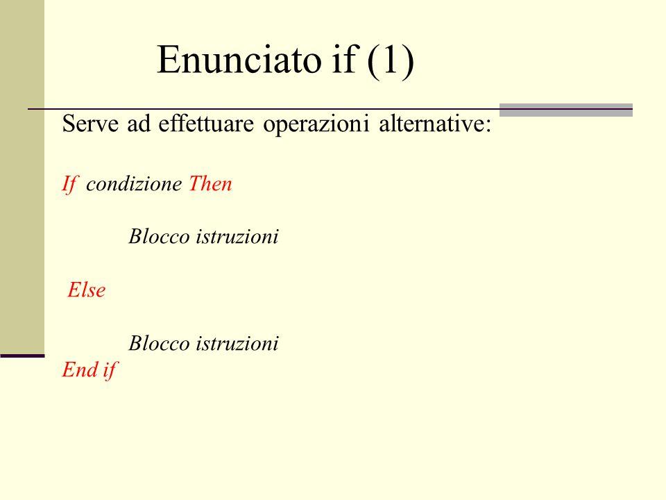 Serve ad effettuare operazioni alternative: If condizione Then Blocco istruzioni Else Blocco istruzioni End if Enunciato if (1)