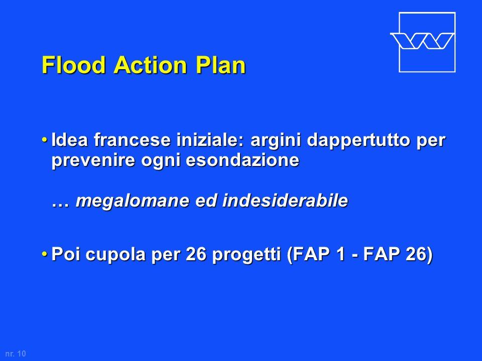nr. 10 Flood Action Plan Idea francese iniziale: argini dappertutto per prevenire ogni esondazione … megalomane ed indesiderabileIdea francese inizial