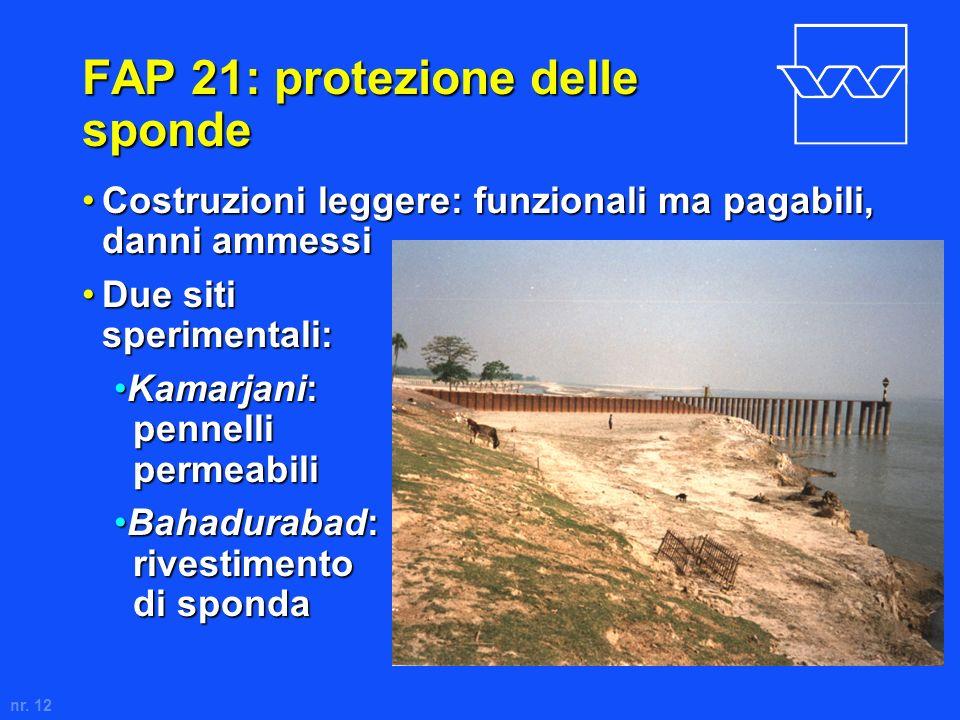 nr. 12 FAP 21: protezione delle sponde Costruzioni leggere: funzionali ma pagabili, danni ammessiCostruzioni leggere: funzionali ma pagabili, danni am