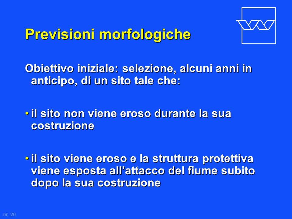 nr. 20 Previsioni morfologiche Obiettivo iniziale: selezione, alcuni anni in anticipo, di un sito tale che: il sito non viene eroso durante la sua cos