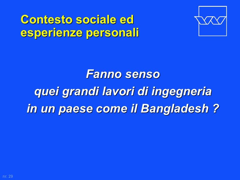 nr. 29 Contesto sociale ed esperienze personali Fanno senso quei grandi lavori di ingegneria in un paese come il Bangladesh ?