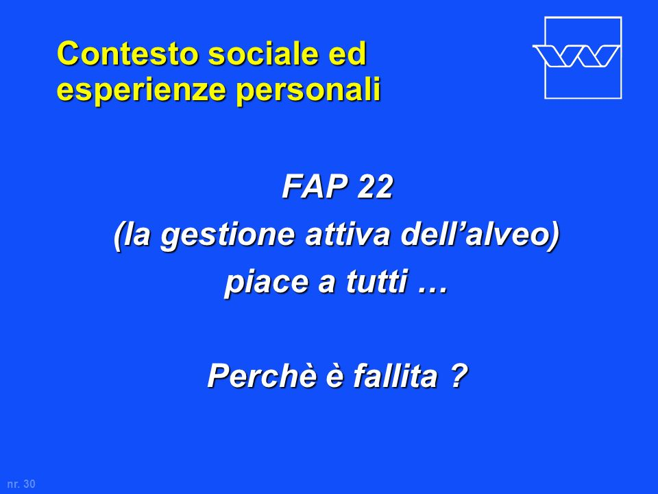 nr. 30 Contesto sociale ed esperienze personali FAP 22 (la gestione attiva dellalveo) piace a tutti … Perchè è fallita ?