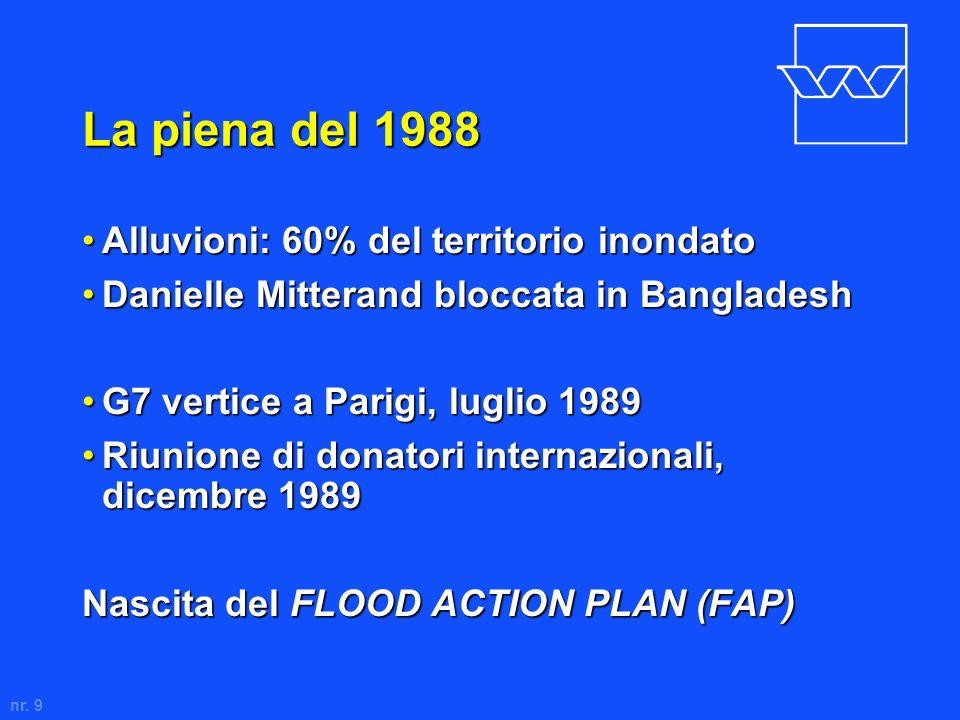 nr. 9 La piena del 1988 Alluvioni: 60% del territorio inondatoAlluvioni: 60% del territorio inondato Danielle Mitterand bloccata in BangladeshDanielle