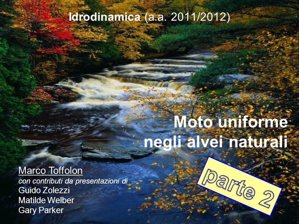 Idrodinamica (a.a. 2011/2012) Moto uniforme negli alvei naturali Marco Toffolon con contributi da presentazioni di Guido Zolezzi Matilde Welber Gary P