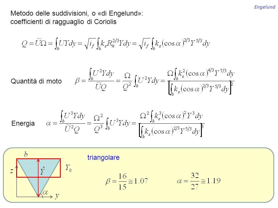 Engelund Metodo delle suddivisioni, o «di Engelund»: coefficienti di ragguaglio di Coriolis Quantità di moto Energia triangolare