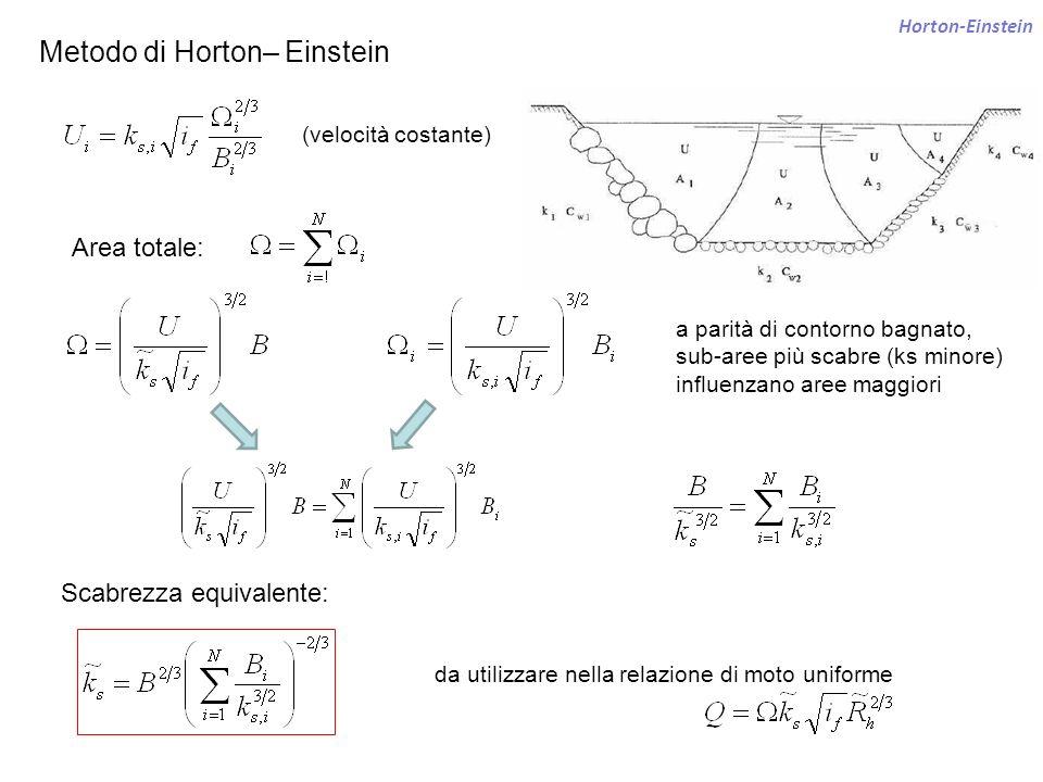 Horton-Einstein Metodo di Horton– Einstein Area totale: Scabrezza equivalente: da utilizzare nella relazione di moto uniforme (velocità costante) a pa
