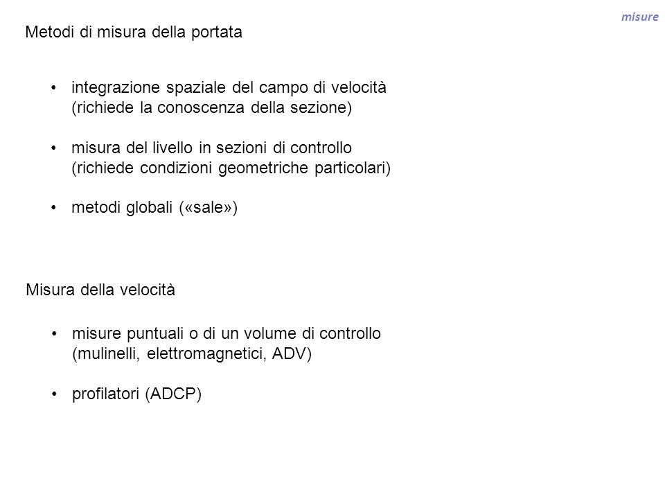 misure Metodi di misura della portata integrazione spaziale del campo di velocità (richiede la conoscenza della sezione) misura del livello in sezioni