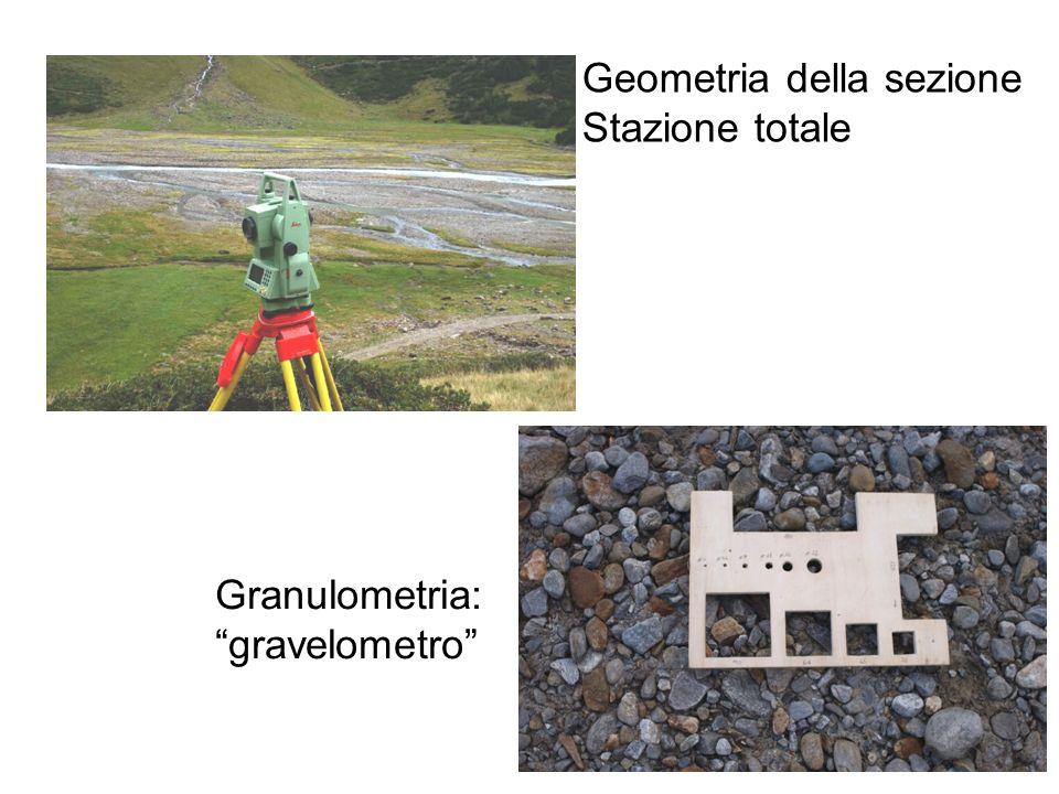 Geometria della sezione Stazione totale Granulometria: gravelometro