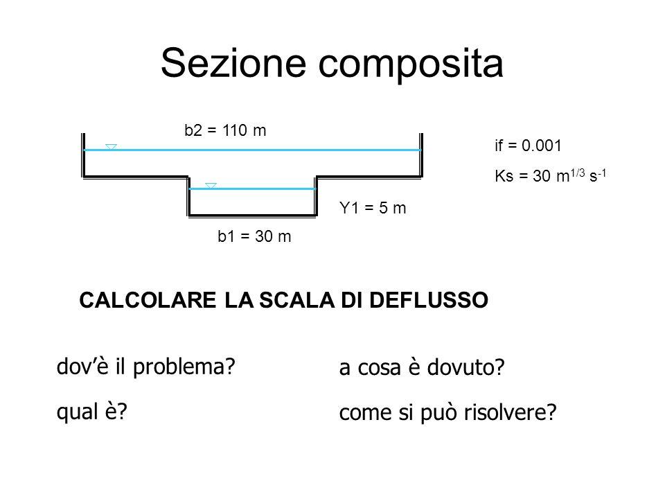 Sezione composita b1 = 30 m b2 = 110 m Y1 = 5 m if = 0.001 Ks = 30 m 1/3 s -1 dovè il problema? qual è? a cosa è dovuto? come si può risolvere? CALCOL