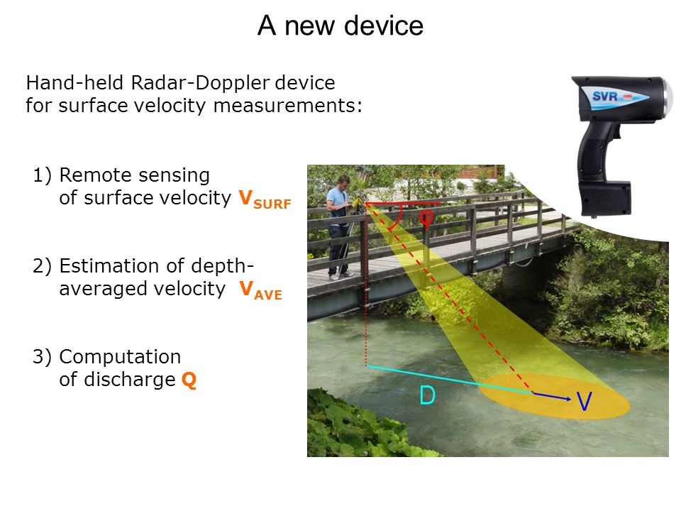 A new device Hand-held Radar-Doppler device for surface velocity measurements: 1) Remote sensing of surface velocity V SURF 2) Estimation of depth- averaged velocity V AVE 3) Computation of discharge Q