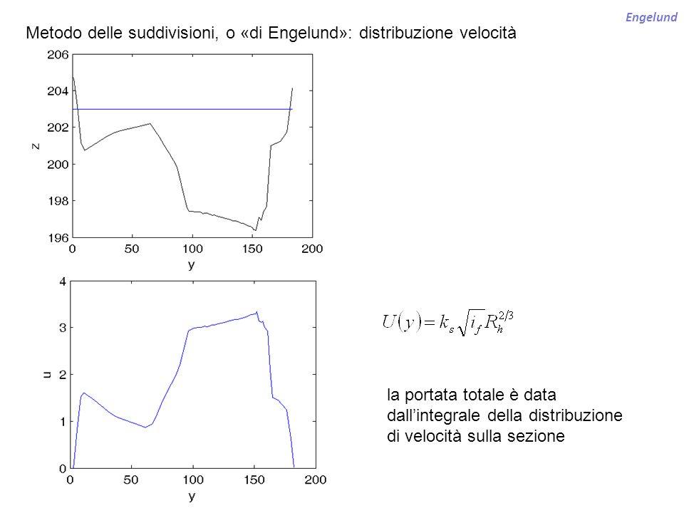 Engelund Metodo delle suddivisioni, o «di Engelund»: distribuzione velocità la portata totale è data dallintegrale della distribuzione di velocità sul