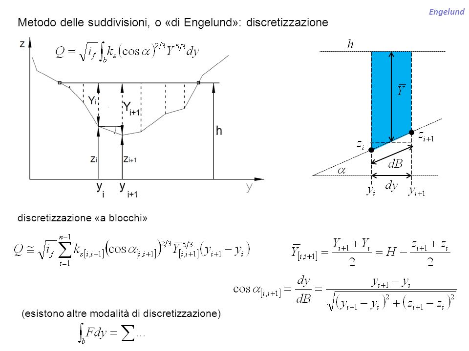 Engelund Metodo delle suddivisioni, o «di Engelund»: discretizzazione (esistono altre modalità di discretizzazione) discretizzazione «a blocchi»
