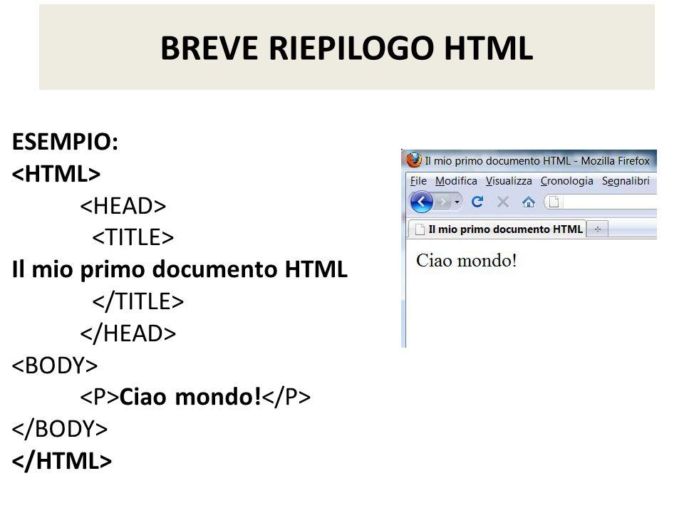 ESEMPIO: Il mio primo documento HTML Ciao mondo! BREVE RIEPILOGO HTML