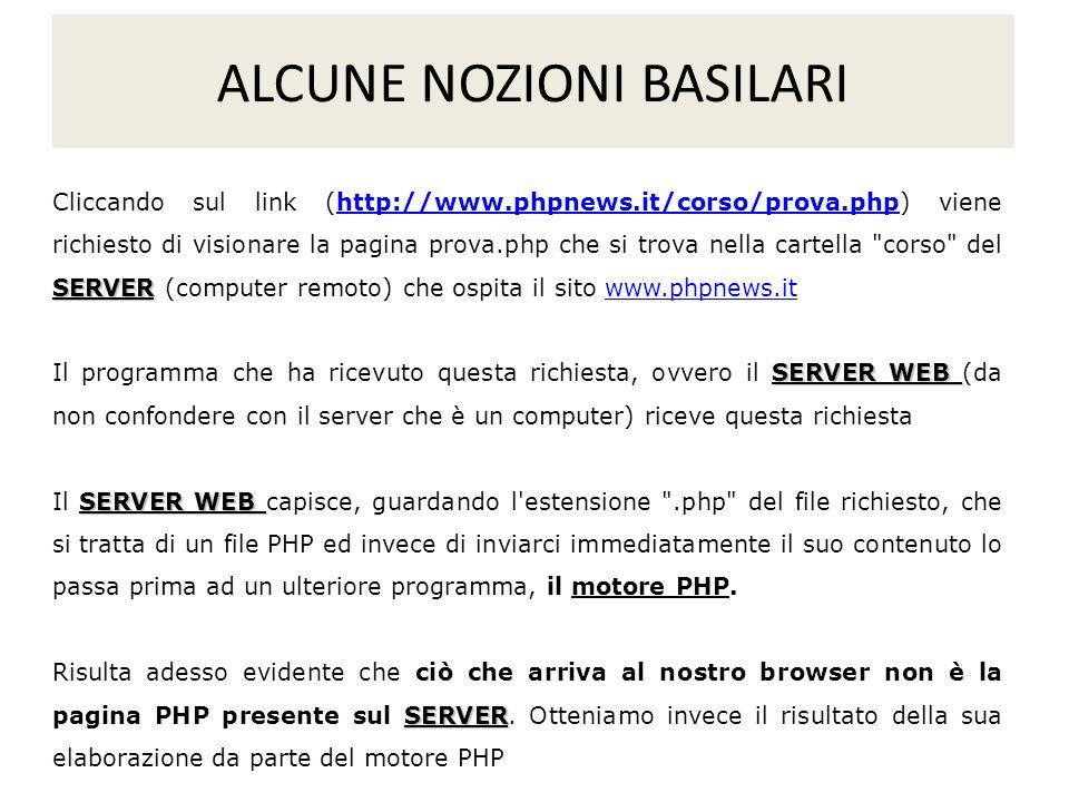 SERVER Cliccando sul link (http://www.phpnews.it/corso/prova.php) viene richiesto di visionare la pagina prova.php che si trova nella cartella