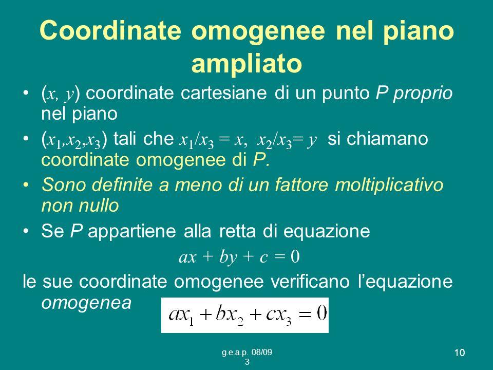 g.e.a.p. 08/09 3 10 Coordinate omogenee nel piano ampliato ( x, y ) coordinate cartesiane di un punto P proprio nel piano ( x 1,x 2,x 3 ) tali che x 1