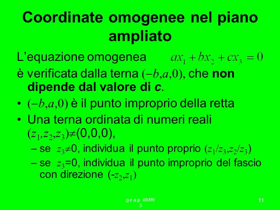 g.e.a.p. 08/09 3 11 Coordinate omogenee nel piano ampliato Lequazione omogenea è verificata dalla terna ( b,a,0), che non dipende dal valore di c. ( b