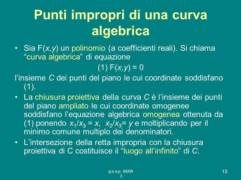 g.e.a.p. 08/09 3 13 Punti impropri di una curva algebrica Sia F(x,y) un polinomio (a coefficienti reali). Si chiamacurva algebrica di equazione (1) F(