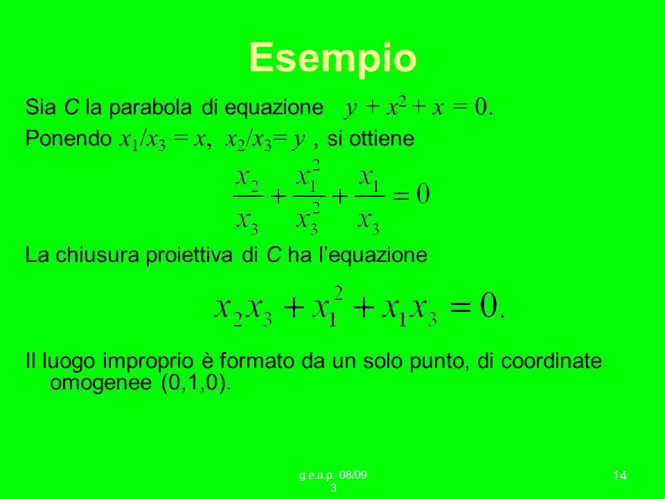 g.e.a.p. 08/09 3 14 Esempio Sia C la parabola di equazione y + x 2 + x = 0. Ponendo x 1 /x 3 = x, x 2 /x 3 = y, si ottiene La chiusura proiettiva di C
