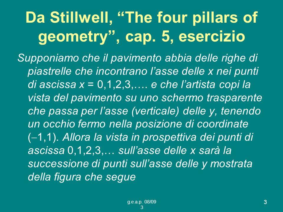 g.e.a.p. 08/09 3 3 Da Stillwell, The four pillars of geometry, cap. 5, esercizio Supponiamo che il pavimento abbia delle righe di piastrelle che incon